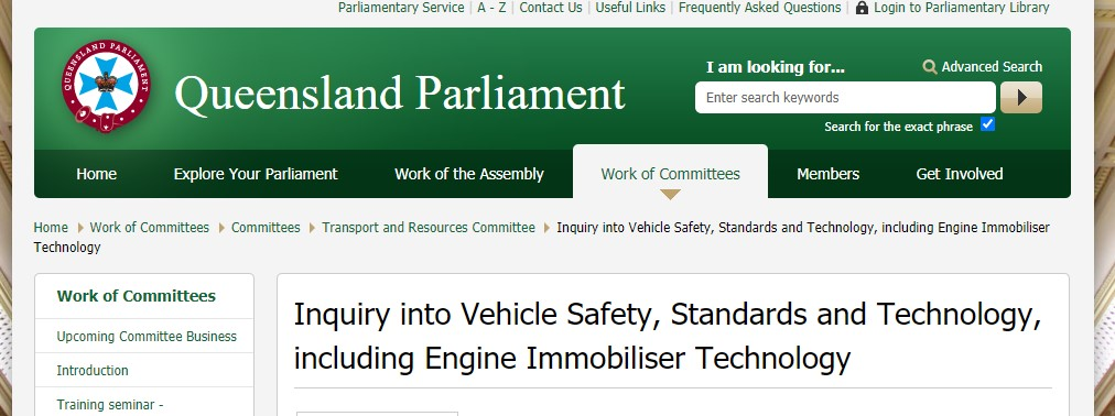 Why is the Queensland government looking into engine immobiliser technology?